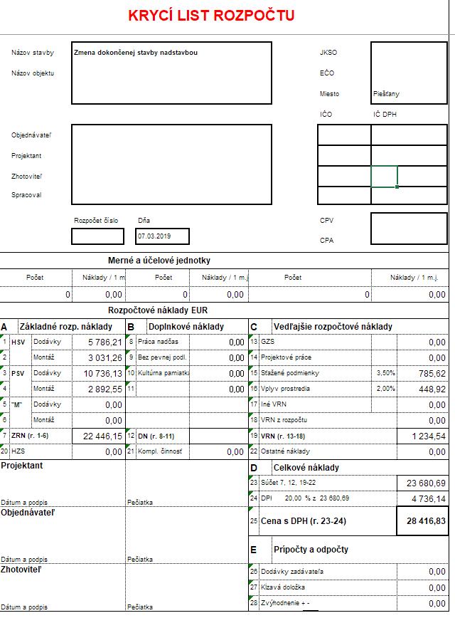 Krycí list rozpočtu vzor