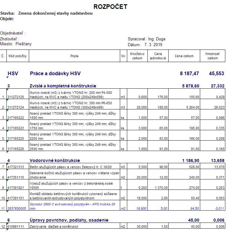 Stavebný rozpočet vzor